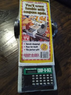 Coup-o-dex coupon Rolodex organizer coupons attached to shopping cart Christmas gift gag for Sale in Colton, CA