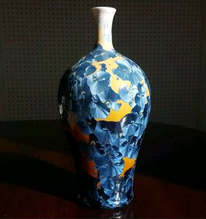 "Large Crystalline Glaze Vase studio Pottery Lana Williams Blue Orange 10"" for Sale in Arlington, VA"