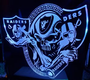 Oakland raiders lighted etched mirror for Sale in Westminster, CO