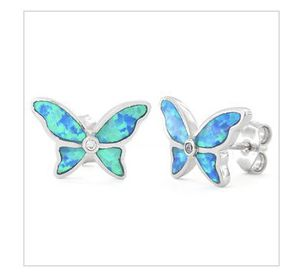 Sterling Silver Lab Opal Butterfly CZ Earrings for Sale in The Woodlands, TX