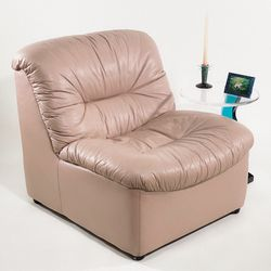 Vintage 80's Puffy Leather Pinkish Cream Lounge Chair (2 Available) for Sale in Los Angeles,  CA