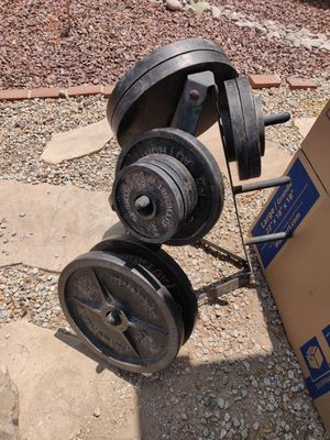 255lbs Olympic plates, barbell, ez curl, weight tree, benchpress for Sale in Chandler, AZ