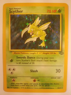 *SHIP ONLY* Played (PL) Scyther Holofoil #10/64 Jungle Pokemon Trading Card TCG WOTC Holographic Hologram Holo Foil Shiny Halo for Sale in Phoenix, AZ