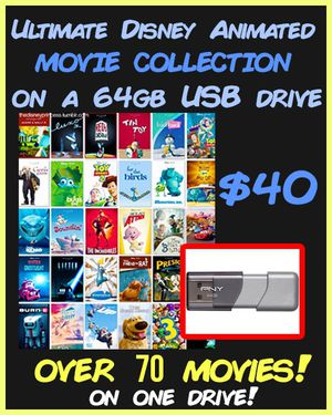 Disney Animated Movies - USB for Sale in Rancho Cucamonga, CA