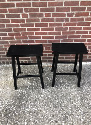 Two Aged Black Counter Height Saddle Stools for Sale in Maple Shade Township, NJ