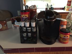 Coffee maker and pods and creamer and extra coffe moving need it gone ASAP for Sale in Vermillion, SD