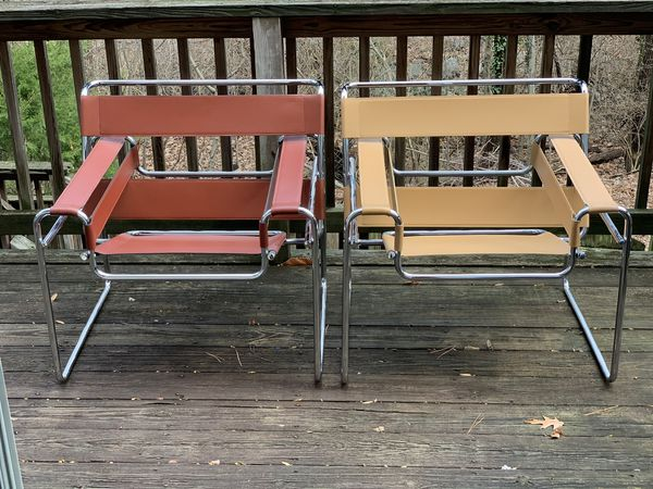 2 Wassily Chairs - Mid Century style leather lounge chairs
