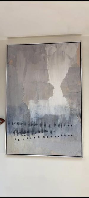 Abstract Wall Art Painting in Thick Stainless Steel Clad Frame for Sale in Calabasas, CA