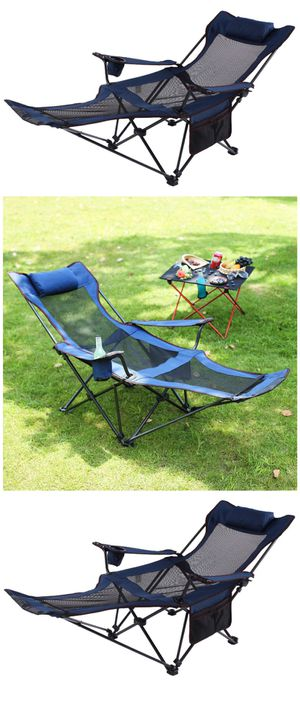 Camping Recliner and Lounge Chair, Backpacking Folding Chair with Headrest, Footrest and Storage Bag for Outdoor Camping, BBQ, 200lbs Weight Capacity for Sale in El Monte, CA