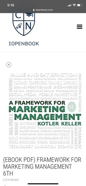A Framework For Marketing Managment by Kolter Keller for Sale in Boston, MA