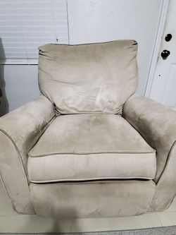 Beige Faux Suede Sofa Bed (Pull Out Bed) And Recliner - Good Condition for Sale in Miami,  FL