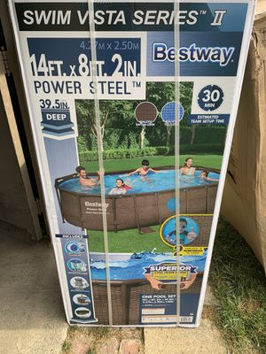 "NEW Bestway 14' x 8' x 40"" Power Steel Frame Swimming Pool Set (Includes Filter) for Sale in Southgate, MI"