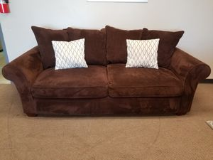 Brown Couch with Throw Pillows for Sale in Denver, CO