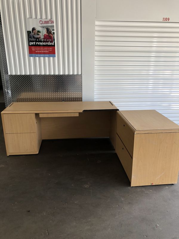 Desk with extra file cabinet space