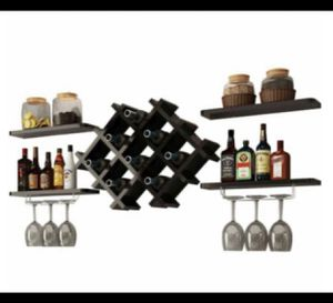 Set of 5 Wall Mount Wine Rack Set w/ Glass Holder and Storage Shelves Black for Sale in Commerce, CA