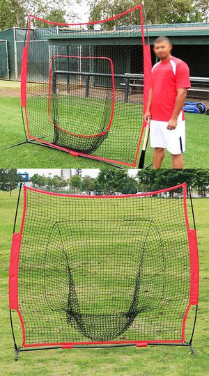 New $55 Baseball and Softball Practice Net Hitting and Pitching 7'x7' with Bow Frame for Sale in Whittier, CA