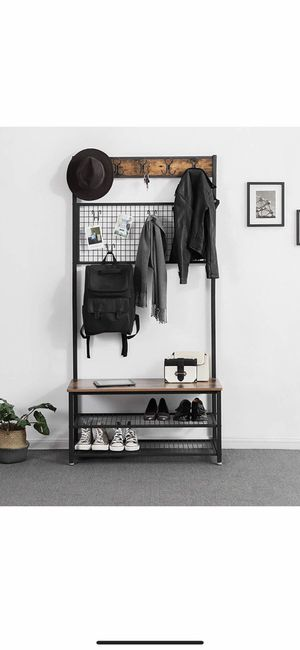 Industrial Coat Stand, Shoe Rack Bench with Grid Memo Board, 9 Hooks and Storage Shelves, Hall Tree with Stable Metal Frame, Rustic Brown for Sale in Corona, CA