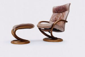 Modern Leather Recliner Chair and Ottoman made in Denmark for Sale in Escondido, CA