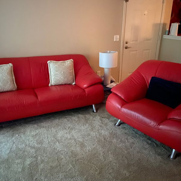 Mid Century Modern Red Leather Couch and Over-Size Chaor