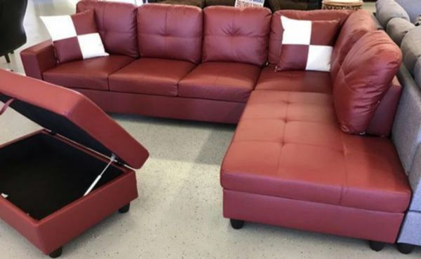Red faux leather Sectional W/ Ottoman