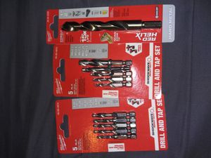 Milwaukee Drill And Tap Sets And Cobalt Drill Tip for Sale in Los Angeles, CA