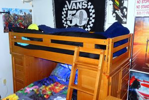 Solid Wood Twin Over Twin Bunk Bed With 2 Big dressers On Each Side - for Sale in Milton, FL