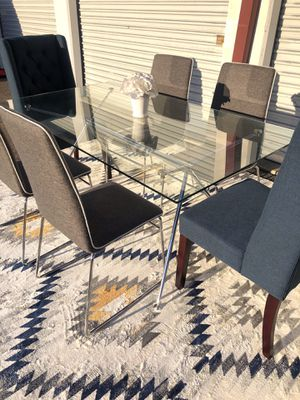 Pottery barn mid century glass dining table set with 6 chairs for Sale in San Diego, CA