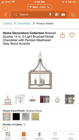 Nickel Chandelier for breakfast table from Home Depot for Sale in Portland, OR