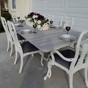 Table and Chairs Farmhouse Table French Farmhouse Dining Room Table Kitchen Table Barnwood Antique Cottage Chic for Sale in Corona, CA