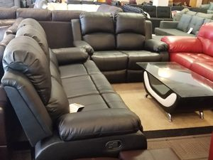 Black Bonded Leather Recliner Sofa and Loveseat Set for Sale in Phoenix, AZ