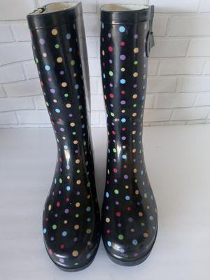 Merona Garden & Rain Boots Black With Rainbow Polka Dots Size 9. for Sale in Lancaster, TX