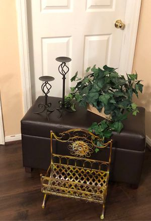 Amazing decor magazine rack greenery candle holders for Sale in Katy, TX