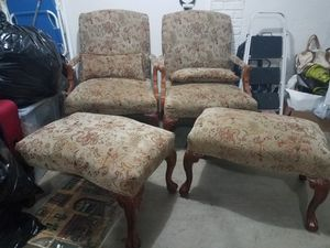 2 antique classic chairs w/ ottomans for Sale in Fort Belvoir, VA