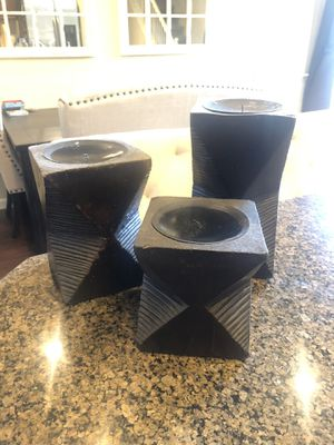 Set of 3 wooden pillar candle holder z gallery for Sale in Clovis, CA