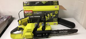14 inch 40 V cordless battery powered Ryobi chainsaw includes battery and charger for Sale in Tampa, FL
