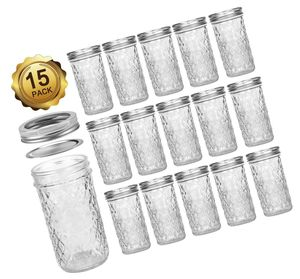 Mason Jars 12 OZ, VERONES Canning Jars Jelly Jars With Regular Lids, Ideal for Jam, Honey, Wedding Favors, Shower Favors, Baby Foods, 15 PACK for Sale in Aurora, IL
