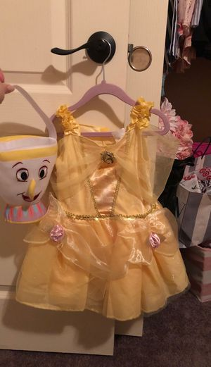 Disney Princess Halloween costume with tea cup for candy for Sale in Las Vegas, NV