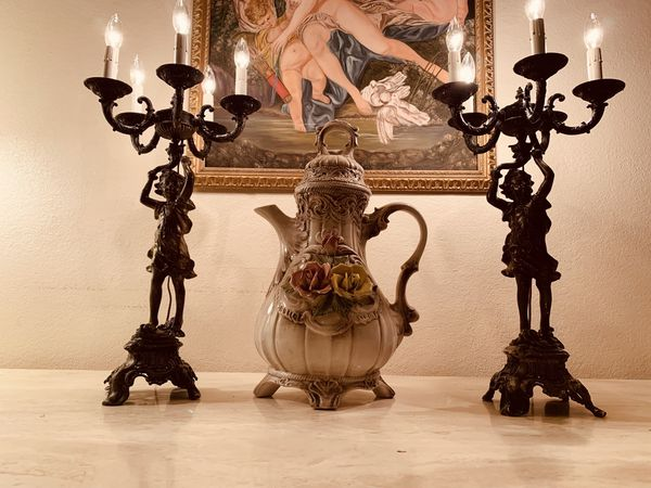 Antique Bronze Cherub Candelabra/Lamps - a pair