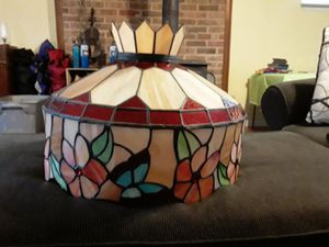 Vintage Tiffany style leaded glass hanging lamp flowers and butterflies for Sale in New Caney, TX