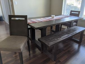 Prat kitchen table, chairs, benches, and sideboard for Sale in San Bruno, CA