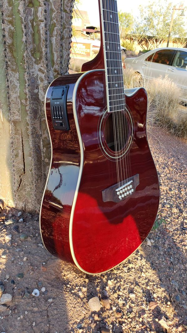 new 12 string acoustic electric requinto guitar burgundy combo with gig bag accessories