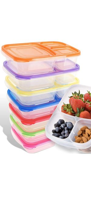 Bento Lunch Box | Meal Prep Containers | 7 Pack | Leak Proof | Reusable 3-Compartment Plastic Divided Food Storage Container Boxes for Kids & Adults for Sale in ROWLAND HGHTS, CA