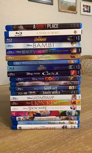 Blu-Ray! Disney Classics- Avengers- Jurassic World-XMen-A quiet place-A Star is born for Sale in Chandler, AZ
