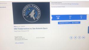 Timberwolves vs. Spurs November 13th for Sale in Minneapolis, MN
