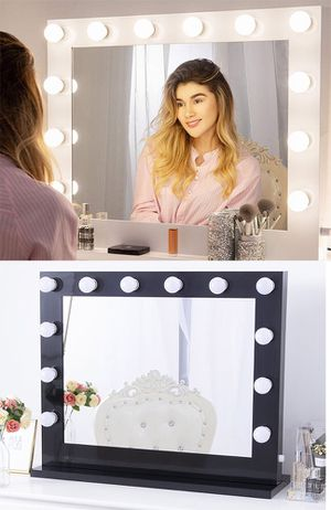 "New $180 X-Large Vanity Mirror w/ 12 Dimmable LED Light Bulbs, Hollywood Beauty Makeup Power Outlet 32x26"" for Sale in Whittier, CA"