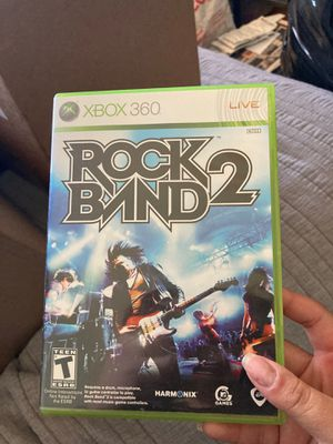 Rock Band 2 game for XBOX 360 comes with guitar, drum set and microphone for Sale in Fresno, CA