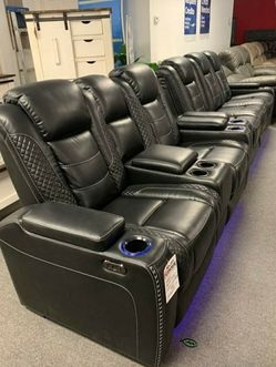 🤞🤞$39 Down Payment. 👈 EXCLUSIVE] Party Time Midnight LED Power Reclining Living Room Set with Adjustable Headrest IN STOCK for Sale in Washington,  DC