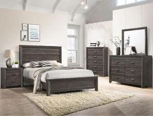 Bedroom set Queen bed +Nightstand +Dresser +Mirror. Mattress not included for Sale in Corona, CA