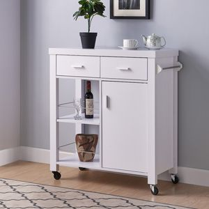 White Kitchen Cart with Two Drawers 192490 for Sale in Newport Beach, CA