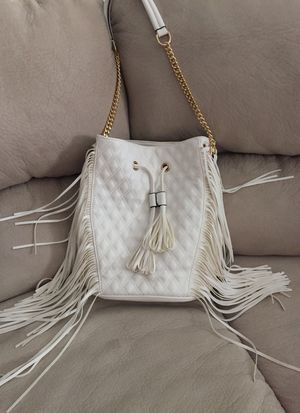 Brand new white & gold tote bag with heavy fringes for Sale in Sacramento, CA
